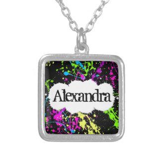 Fresh Retro Neon Paint Splatter on Black Square Pendant Necklace