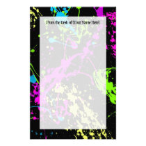 Fresh Retro Neon Paint Splatter on Black Stationery