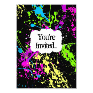 Fresh Retro Neon Paint Splatter Party Invitation