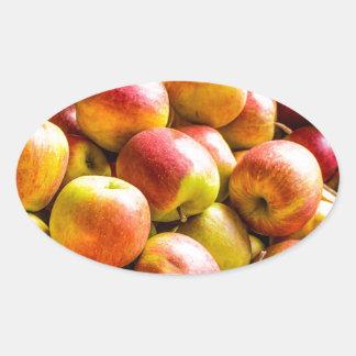 Fresh ripe apples oval sticker