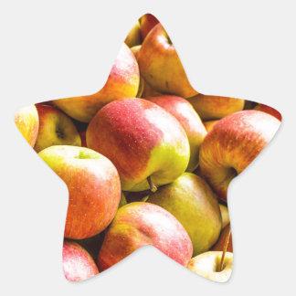 Fresh ripe apples star sticker