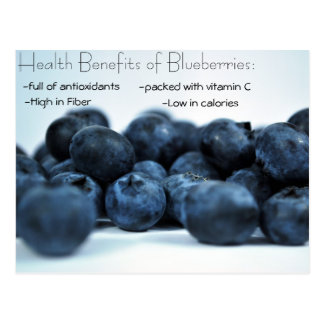 Fresh Ripe Blueberries Health Benefits Postcard