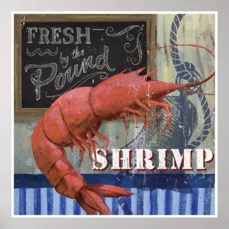 Fresh Shrimp Fish market Style art Poster
