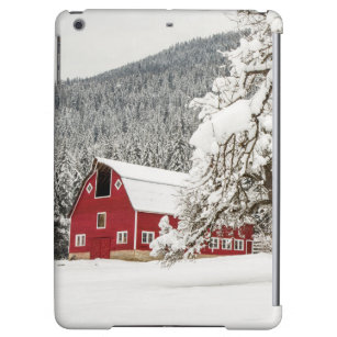 Fresh snow on red barn cover for iPad air
