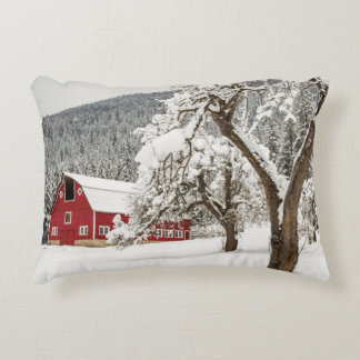 Fresh snow on red barn decorative pillow