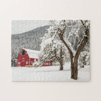 Fresh snow on red barn jigsaw puzzle