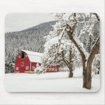 Fresh snow on red barn mouse pad