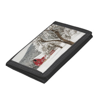 Fresh snow on red barn tri-fold wallet