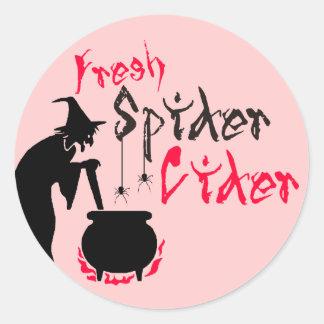 Fresh Spider Cider Round Stickers