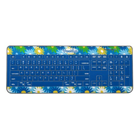 Fresh spring daisies pattern overlaid on wireless keyboard