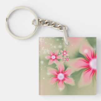 Fresh Spring Floral Abstract Single-Sided Square Acrylic Keychain