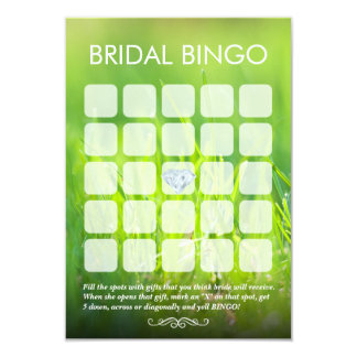 Fresh Spring Green Bridal Shower Bingo Cards