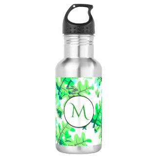 Fresh Spring Green Leaves Pattern Monogram Stainless Steel Water Bottle