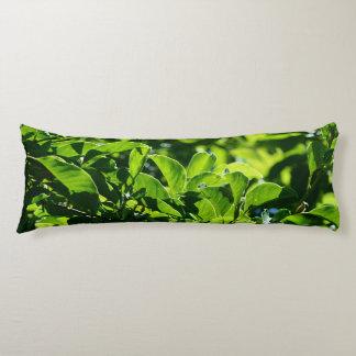fresh spring, summer green leaves body pillow. body pillow