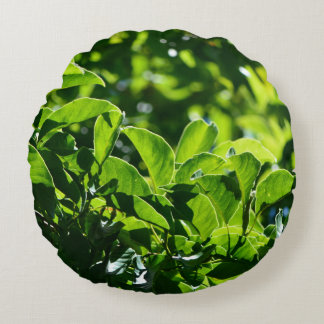 fresh spring, summer green leaves round pillow. round pillow