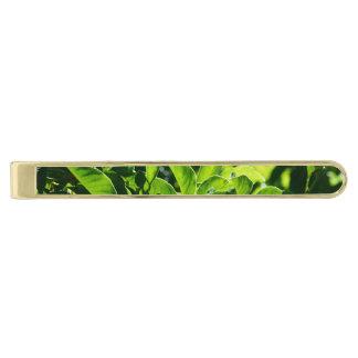 fresh spring, summer green leaves tie bar. gold finish tie clip