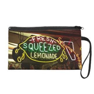 Fresh Squeezed Lemonade Neon Boardwalk Sign Wristlet Clutch