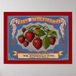 Fresh Strawberries Label Poster