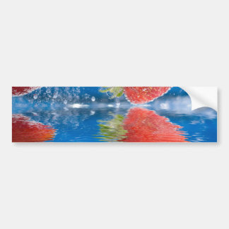Fresh Strawberries Splashing Into Water Bumper Sticker