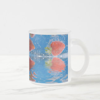 Fresh Strawberries Splashing Into Water Frosted Glass Coffee Mug