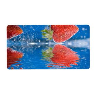 Fresh Strawberries Splashing Into Water Custom Shipping Label