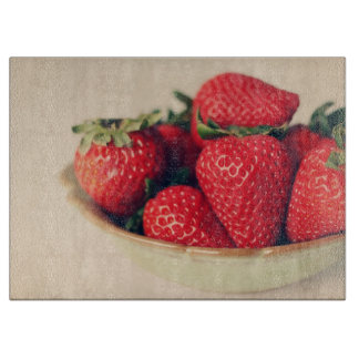 Fresh Strawberries Vintage Photograph Cutting Board