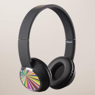 Fresh striped background headphones