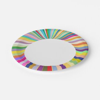 Fresh striped background paper plate
