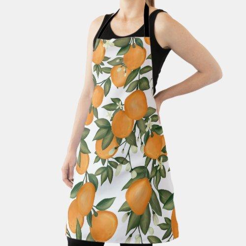 Fresh Summer Botanical Citrus Orange Tangerine Apron
