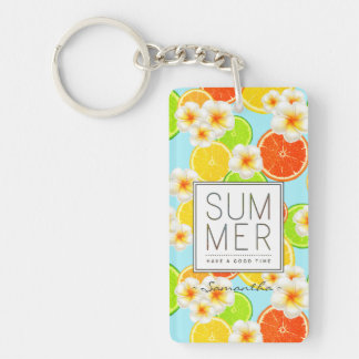 Fresh Summer Fruits and Exotic Plumeria Flowers Keychain