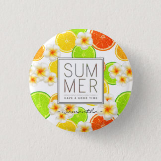 Fresh Summer Fruits and Exotic Plumeria Flowers Pinback Button