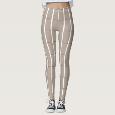 Beach Themed Fresh-Summer-Plaid's-Beige(c) -LEGGING'S_XS-XL Leggings