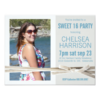 Fresh Sweet 16 Photo Birthday Party 4.25x5.5 Paper Invitation Card