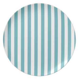 Fresh Teal and White Bold Striped Pattern Plate
