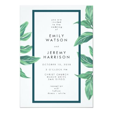Beach Themed Fresh Tropical Island Leaves Wedding Invitation