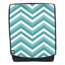 Fresh Turquoise Aquatic chevron zigzag pattern Backpack
