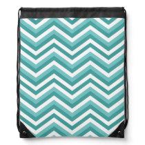 Fresh Turquoise Aquatic chevron zigzag pattern Drawstring Backpack