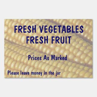 Fresh Vegetables Fruit Corn Farm Stand Lawn Sign