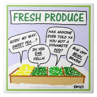 Fresh Vegetables Humorous Cartoon Kitchen Tile