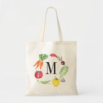 Fresh Vegetables Watercolor Monogram Tote Bag