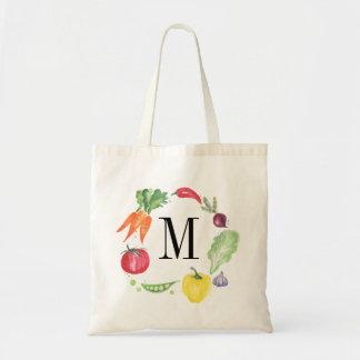 Fresh Vegetables Watercolor Monogram Tote Bag
