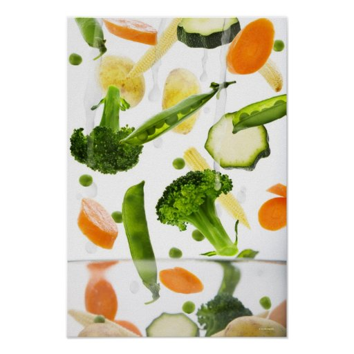 Fresh vegetables with water falling into a bowl poster