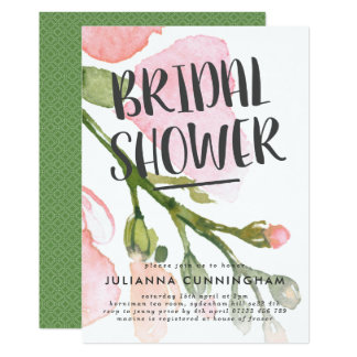 Fresh Watercolor Blooms Bridal Shower Invitation