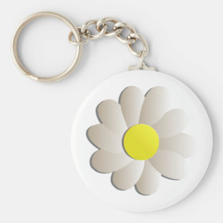 FRESH WHITE DAISY FLOWER, SPRING TIME FLOWER KEYCHAIN
