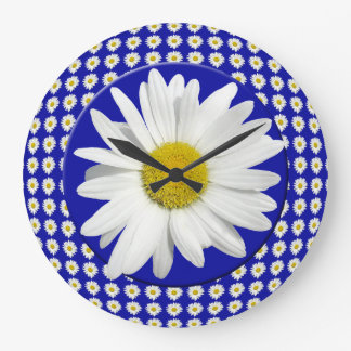 Fresh White Daisy Large Clock
