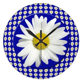 Fresh White Daisy Large Clock