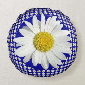 Fresh White Daisy Round Pillow