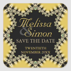 Fresh yellow black eastern Save the Date Stickers