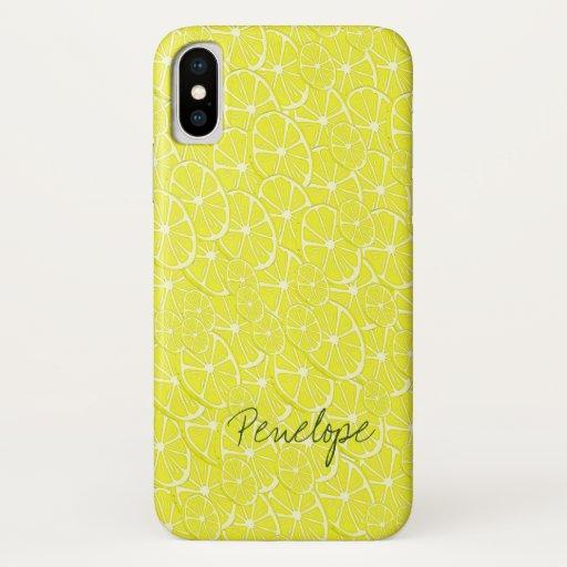 Fresh Yellow Lemon Slice Citrus Pattern with Name iPhone X Case