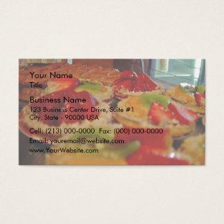 Fresh yummy fruits custard tarts business card